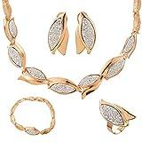 MJartoria Damen Schmuck Set Statement Kette Ohrringe Ring Armband Blume Anhänger Boho Türkis Gold Farbe 4 Stück
