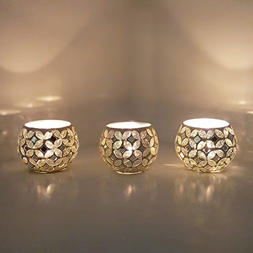 3 X Beautiful Genuine Turkish Moroccan Glass Mosaic Candle Holder Tea Light - WHITE CANDLE PETAL