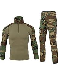 Lanbaosi Chemise de Combat Militaire Homme Uniforme Tactique Séchage rapide à Manches Longues & Pantalon Costume Tenues de Combat Pantalon Militaire Paintball