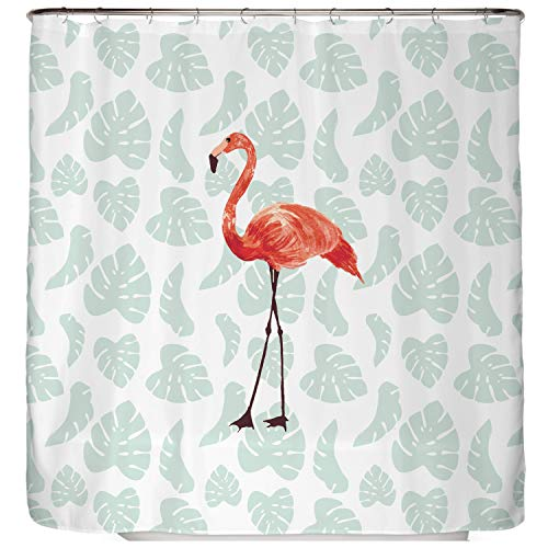 arteneur® - Flamingo - Anti-Schimmel Duschvorhang 180x200 - Beschwerter Saum, Blickdicht, Wasserdicht, Waschbar, 12 Ringe & E-Book mit Reinigungs-Tipps (Flamingo Duschvorhang)