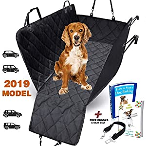 AMZPET Dog Car Seat Cover for Dogs, Waterproof with Door Protection, Durable Nonslip Scratch Proof Washable Pet Back Seat Cover. 3-in-1 Car Seat Protector, Boot Liner, Dog Travel Hammock for all Cars 14