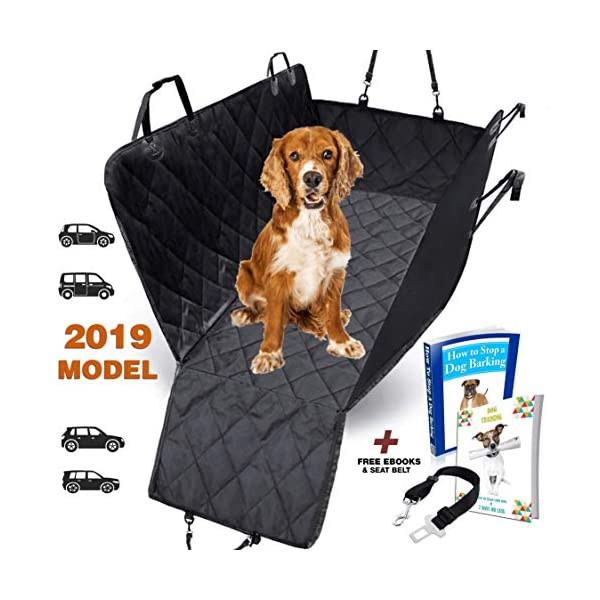 AMZPET Dog Car Seat Cover for Dogs, Waterproof with Door Protection, Durable Nonslip Scratch Proof Washable Pet Back Seat Cover. 3-in-1 Car Seat Protector, Boot Liner, Dog Travel Hammock for all Cars 1