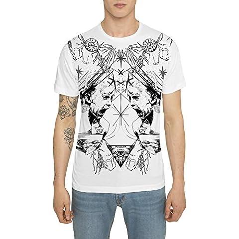 Maglietta Bianca da Uomo, T Shirt Fashion Rock Tattoo Style Maglia con Stampa - RED SCREAM Designer Magliette di Cotone, Girocollo, Manica Corta, Maglie Moda Urban Cool per Uomo, S M L XL XXL