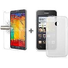 TBOC® Pack: Funda de Gel TPU Transparente + Protector Pantalla Vidrio Templado para Huawei Ascend Y330. Funda de Silicona Ultrafina y Flexible. Protector de pantalla Resistente a Golpes, Caídas y Arañazos.