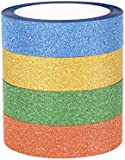 ST 4x Glitter Sparkle Washi Masking Tapes for Art project,Crafts, Scrapbooks,Gift Wrapping or Home decorations, 15mmx9.1m each, Pack of 4