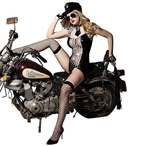 Just See You Damen Hot Black Dessous Motorrad Mädchen Uniformen Versuchung Bar Outfits Perspektive Erotische Attraktive Body Sets