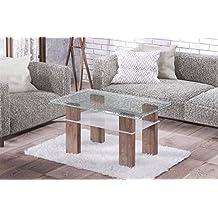 Endo Couchtisch Doro Wohnzimmertisch Tisch Crashglas 100x60cm Ablage Glastisch Modern Nussbaum