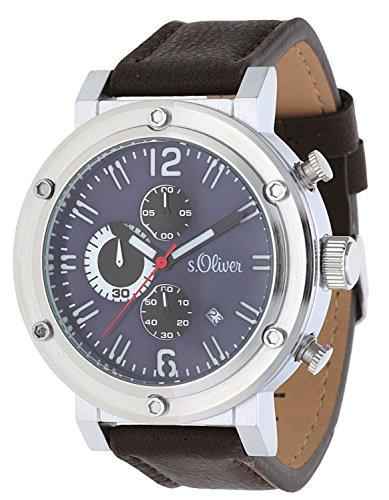 s.Oliver Men Watch Chronograph dark brown SO-15158-LCR