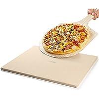 REIDEA Pizzastein Ofen Brotbackstein aus Cordierit mit Pizzaschaufel für Backofen und Grill / Eckig, 40,6 x 35,6 x 1,3 cm