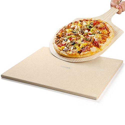 REIDEA Pizzastein / Brotbackstein Set für Backofen und Grill / eckig / aus Cordierit mit Pizzaschaufel, 40,6 x 35,6 x 1,3 cm