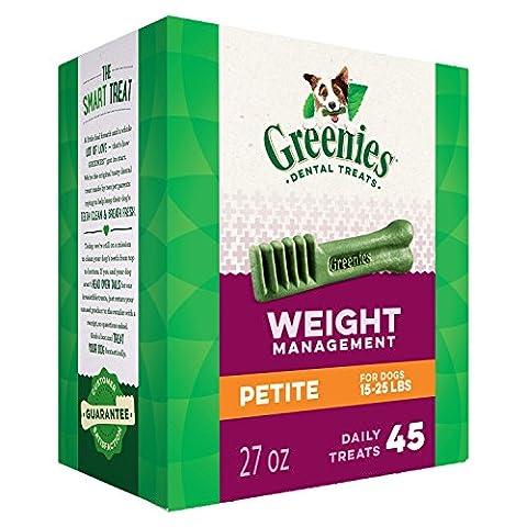 GREENIES Weight Management Dental Chews Petite Dog Treats - Treat TUB-PAK Package 27 oz. 45 Treats