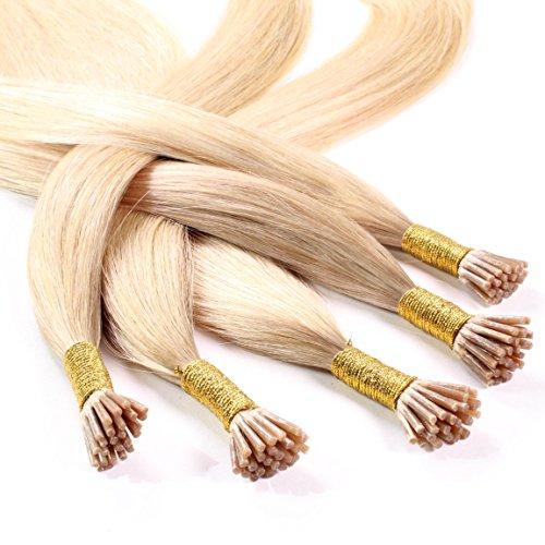 hair2heart 150 x 0.5g Echthaar Microring Stick Extensions, 60cm - glatt - #20 aschblond (Haar-stick Indische)