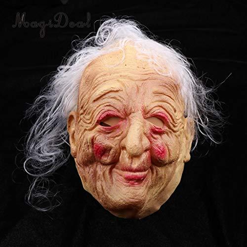 y Vorderseite Maskerade Maske Halloween Prop hässlich faltig alte Frauen weiblich Hag graues Haar Lady Oma Kostüm Prop ()
