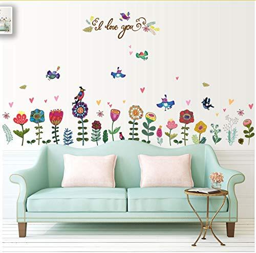 Yangll Cartoon Blume Vogel Removable Badezimmer Schlafzimmer Wohnzimmer Küche Dekor Aufkleber Wandbild Selbstklebende Diy Wandaufkleber Poster