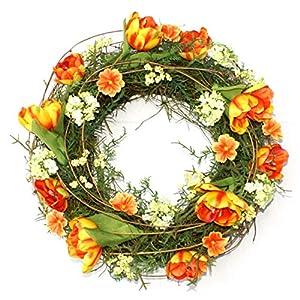 P.Shop Blütenkranz Blumenkranz Wandkranz Türkranz Tulpen gelb/orange Ø 37