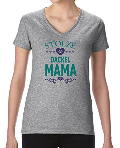 Comedy Shirts - Stolze Dackel Mama - Damen V-Neck T-Shirt - Graumeliert / Türkis-Lila Gr. XXL