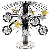 Amscan Graduation Mini Cascade - Centrotavola, 18 cm, colore: Nero/bianco