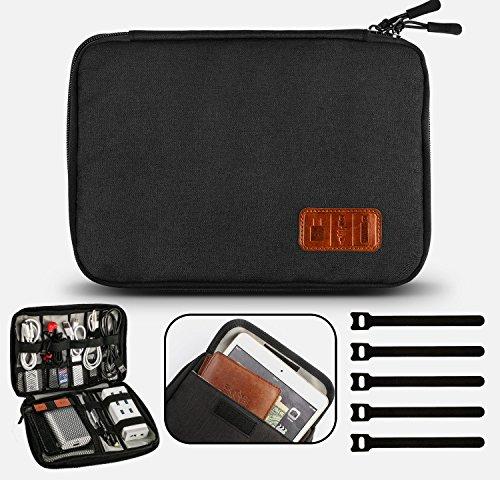 GiBot Electrónico Organizador de Cable Accesorios Electrónicos Bolsa para Cables, Disco flash, Unidad USB, Cargador, Banco de energía, Tarjeta de memoria, Auriculares y iPad Mini, negro