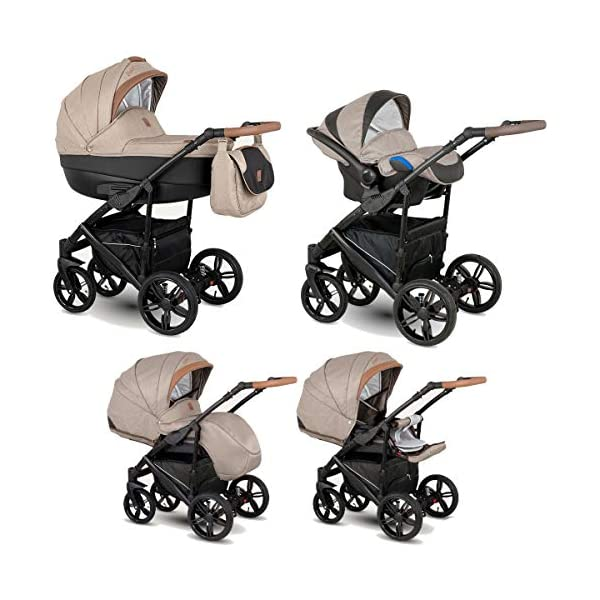 Lux4Kids Stroller Pram 2in1 3in1 Isofix Car seat 12 Colours Free Accessories Leo Black Brown BA-8 4in1 car seat +Isofix Lux4Kids Lux4Kids Leo 3in1 or 2in1 pushchair. You have the choice whether you need a car seat (baby seat certified according to ECE R 44/04 or not). Of course the car is robust, safe and durable Certificate EN 1888:2004, you can also choose our Zoe with Isofix. The baby bath has not only ventilation windows for the summer but also a weather footmuff and a lockable rocker function. The push handle adapts to your size and not vice versa, the entire frame is made of a special aluminium alloy with a patented folding mechanism. 1