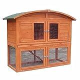 Melko® Hasenstall Kleintierhaus mit Freilaufgehege, 120 x 56 x 98 cm, aus Holz, Inkl. Rampe, Runddach