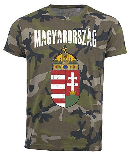 T-Shirt Ungarn Camouflage Army WM 2018 .- Vintage Destroy Wappen D01 (L)