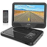 """WONNIE 10.5"""" Tragbarer DVD-Player, Schwenkbaren Bildschirm, HD Display 4-5 Stunden Akku, USB/SD Slot, Kinder (Schwarz) Bild"""