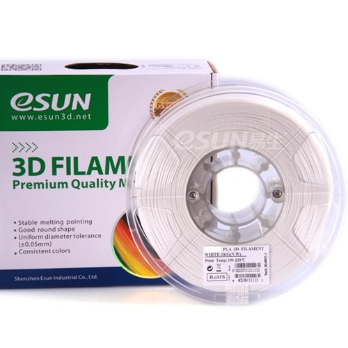 esun 3D PLA Filament 1,75 mm 1 kg de White, Pressure Tempe. 190–220 & # x2103 ;, E. g. for 3D Printer Ultimaker MakerBot RepRap Maker Gear Up Mendel huxlep Thing Tune-o-matic universel