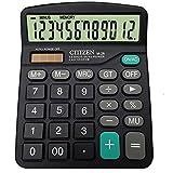 AOLVO 12Digit Dual Power Taschenrechner für Büro/Business/Familie Tischrechner mit großem Display und große Tasten, AAA Akku schwarz