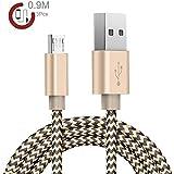 Zeuste Micro USB cable [3 piezas 0.9M] Nylon para Samsung Galaxy, HTC, Motorola, Nexus, Nokia, LG, Huawei, Sony, Blackberry, Kindle, y otros teléfonos Android – Dorado