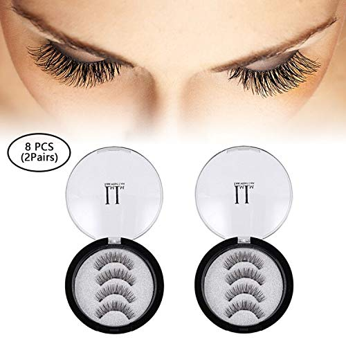 Magnetische Wimpern, IMIM Magnetische Wimpern 3 Magnete [Kein Klebstoff] Magnetische falsche Wimpern wiederverwendbare 3D-Wimpern (2 Paare / 8 PCS) Zubehör Magnete