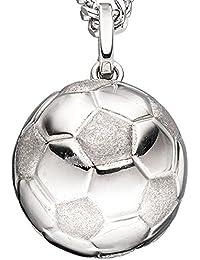 Balón de fútbol colgante plata 925  parcialmente mate brillante de cuello  ideal ... d31aafa698fe1