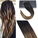Extension Capelli Clip Nere Naturale al Marrone con Bionda - Extension Capelli Clip, 18Pollice/45cm Clip in Extension Capelli 7Pcs/120g
