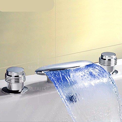 Hlluya Wasserhahn für Waschbecken Küche Ld Wasserfall Badewanne fällt Wasser kalt Wasser DREI-Loch mit Doppelgriff Badezimmer Waschtisch Armatur -