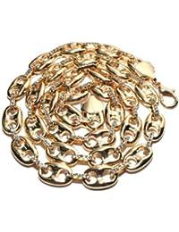 Collier de ton or, chaîne Mariner avec maillons couvert de pierres de Strass, l.13 mm L.76 cm