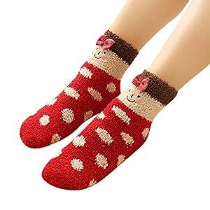 FRAUIT Socken aus Baumwolle Thermal Socken Erwachsene Unisex Socken Frauen Socken Dame Socken Mädchen Socken Lässige Socken Tier-Winter-flauschige warme Bett-Schlaf-Socken