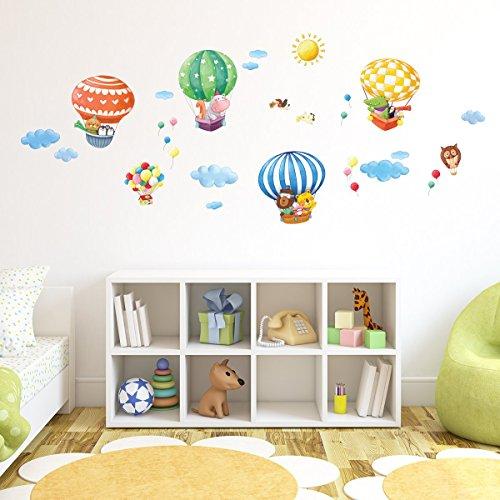 decowall-da-1406b-mongolfiere-con-animali-adesivi-da-parete