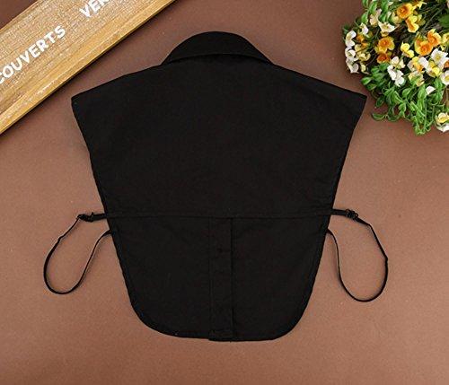CRAVOG Sexy Damen Kragen Abnehmbare Hälfte Shirt Bluse Tops Krawatte Abnehmbare Turn down Kragen Schwarz