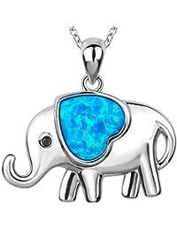 7126a5996538 Collar colgante de plata de ley 925 con corazón azul del amor y elefante de  la suerte colgante chapado en oro blanco.