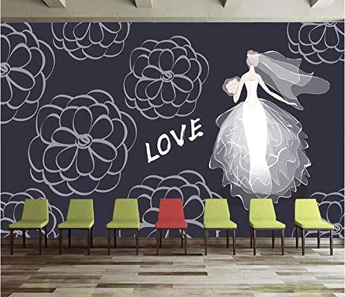 Benutzerdefinierte 3D Wallpaper Wandbilder einfache Tafel Malerei Hochzeit Hochzeit Braut Kostüm Hintergrund Wand dekorative Malerei @ 430 * 300cm (Fantasy Braut Kostüm)