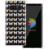 mobilefox dessana Aquarell Tier Pattern Transparente Silikon TPU Schutzhülle 0,7mm Dünne Handy Tasche Soft Case für Samsung Galaxy Note 8 Schmetterling