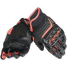 Dainese Carbon D1 Short Motorradhandschuhe, Schwarz/Schwarz/Rot Leuchtend, Größe L