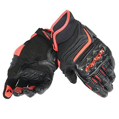 Dainese-CARBON D1 SHORT Handschuhe, Schwarz/Schwarz/Fluo-Rot, Größe L
