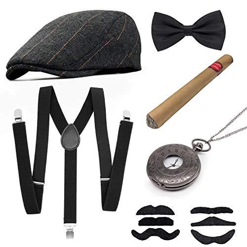 MMTX 1920s Jahre Herren Kostüm Accessoires Zubehör Set Flapper Mafia Gatsby Kostüm-Set mit Panamahut,Verstellbar Y-Back-Hosenträger, Fliege, Vintage Taschenuhr und (20 Vintage Kostüm)