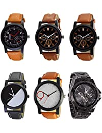 NEUTRON Latest Designer Black Blue And Brown Color 6 Watch Combo (B29-B30-B31-B32-B33-B70) For Boys And Men