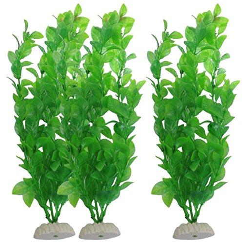 Wokee 3 Stück Aquarium Grüne Kunststoff Künstliche Pflanzen 10,6