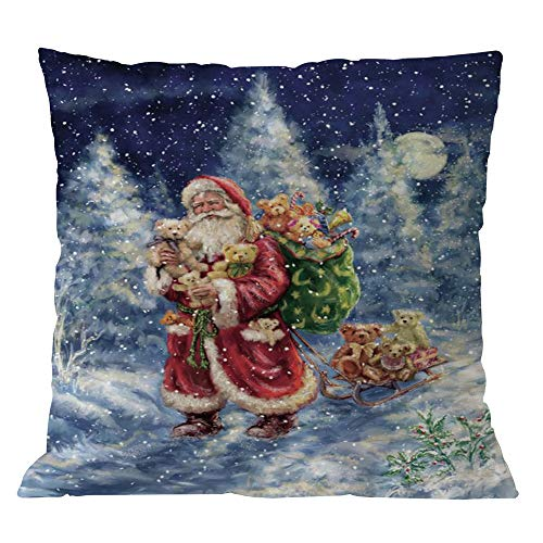 Riou Kissenbezuge Weihnachten Kissenhülle Dekokissen Fall Throw Pillow Covers Bettwäsche Für Autos Sofakissen Baumwolle Leinen Weihnachten Kissenbezug Wurf Kissenbezug Home Decor (mehrfarbig A, 45 x 45cm)