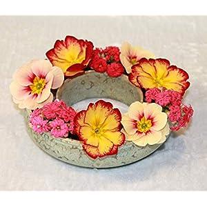 Blumenring Keramik grüne Effektglasur, schöne Dekoraton – ideales Geschenk