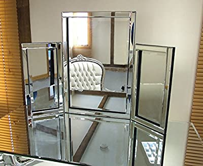 Dressing Table Mirror Modern Clear Venetian Tri-Fold Free Standing Bedroom Kelsey Stores ltd