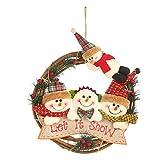 Topke Ratán Corona de Navidad con 4 muñecos de Peluche de la Puerta Principal de la Guirnalda de Vacaciones Ornamentos Colgantes Colgante de Pared de la Ventana Principal de la Cocina