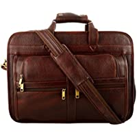 O.K. International Leather Bag for Laptop (Brown, OKLRVJSHBR, Medium)
